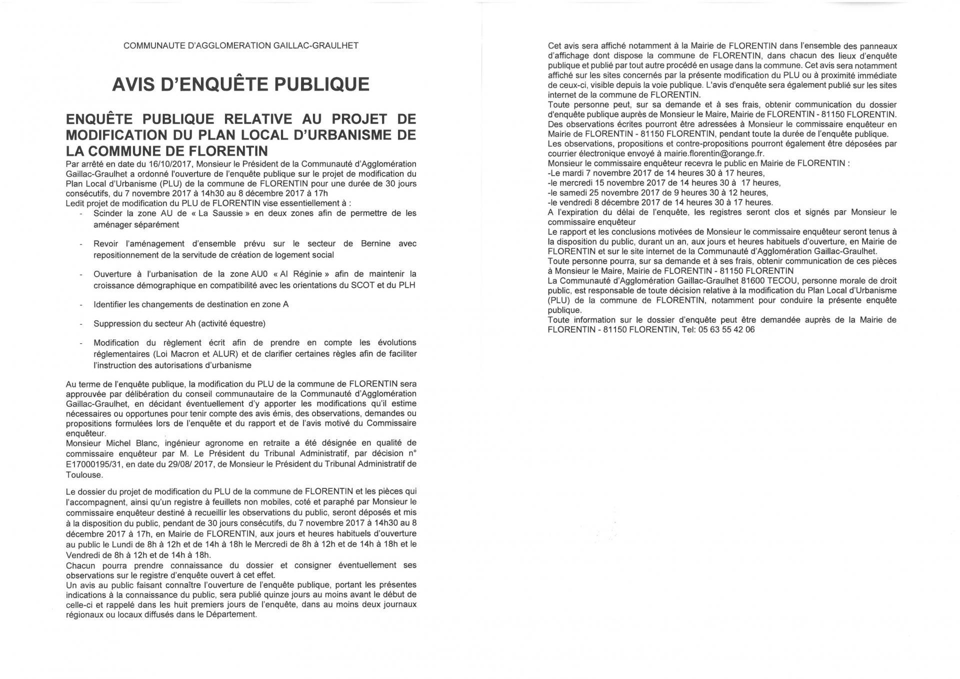 Avis enquete publique florentin 1