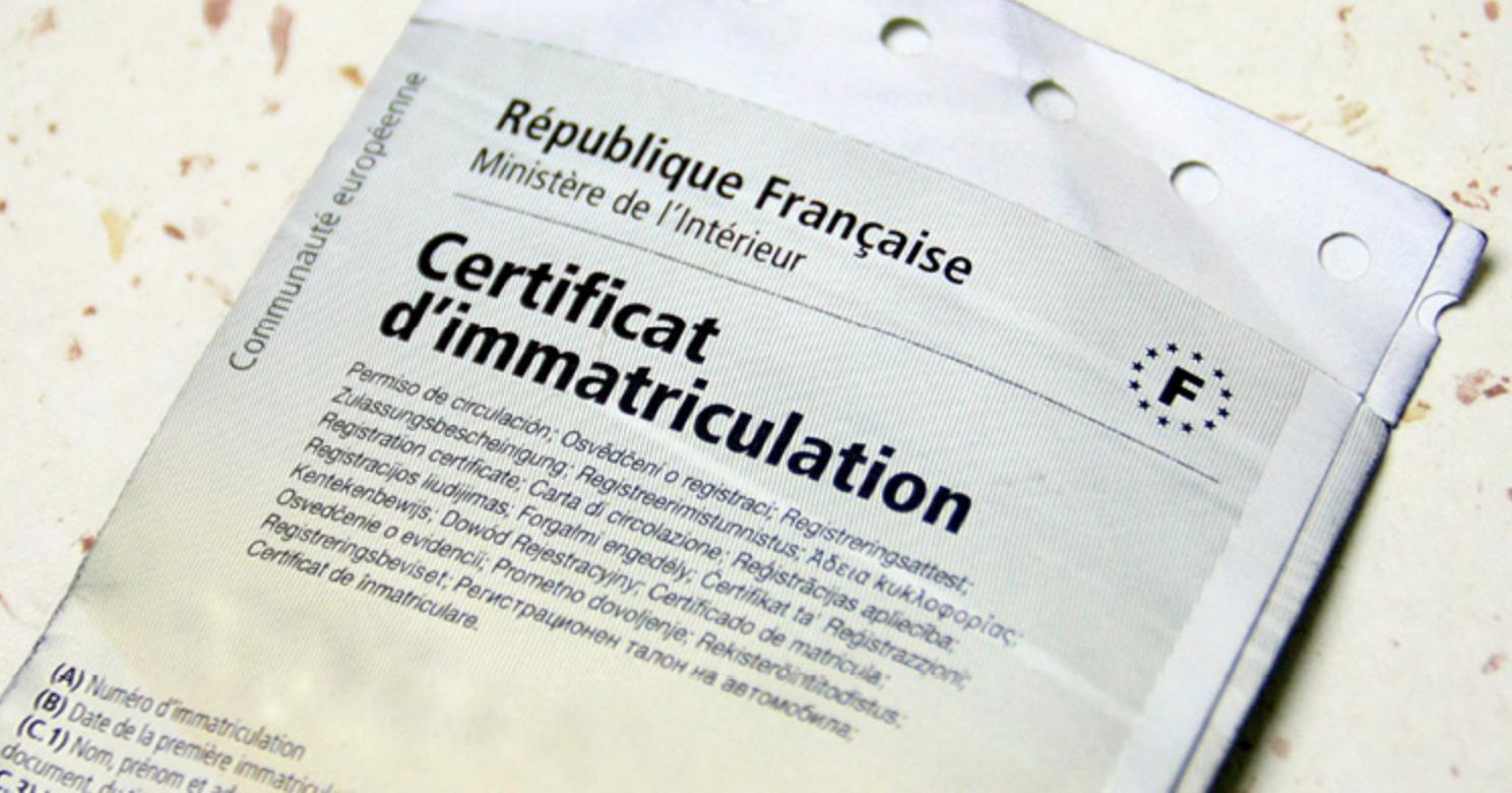 certificat d'immatriculation