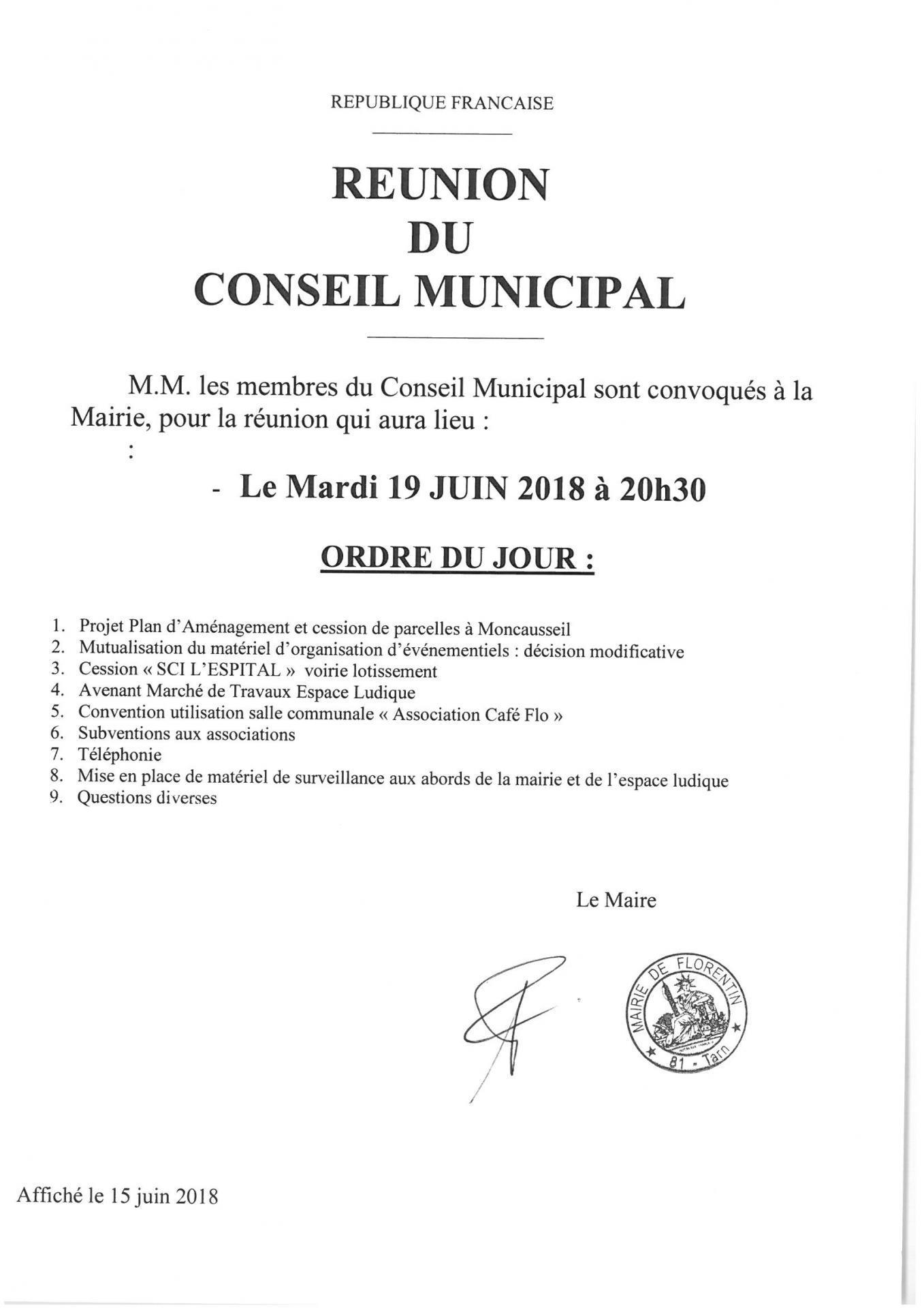 Reunion du conseil municipal 19 06 19