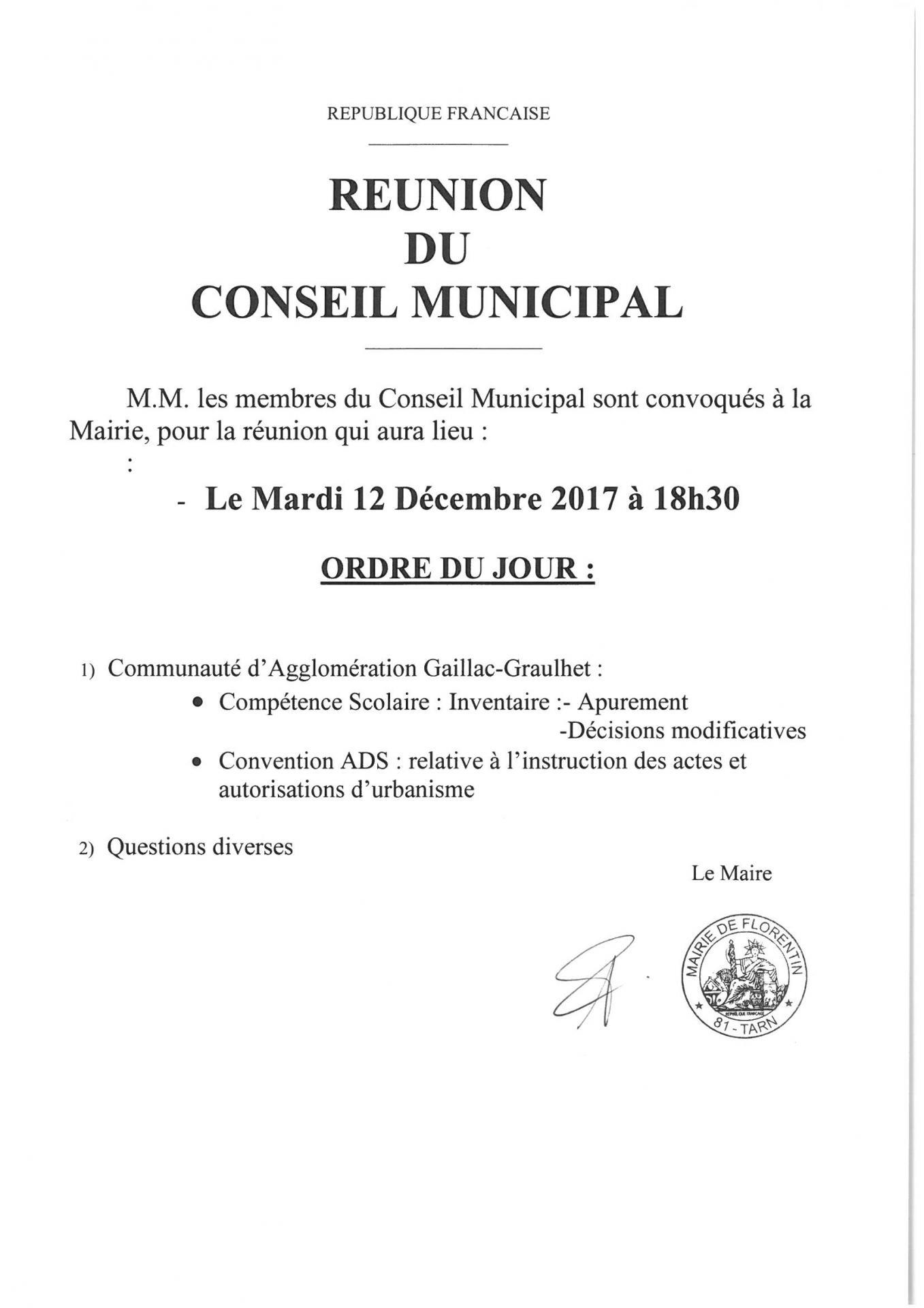 Reunion du conseil municipal du 12 12 2018